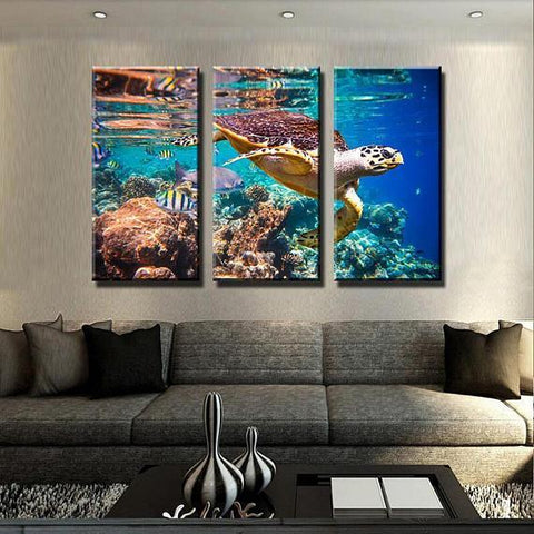 Image of New Day Stock Store Canvas Paintings Medium / 3 Pieces / No Frame Ocean Turtle Multi Piece Canvas Set