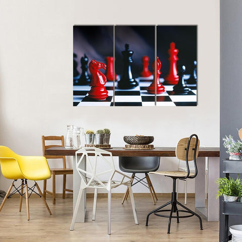 New Day Stock Store Canvas Paintings Medium / 3 Pieces / No Frame Red And Black Chess Multi Piece Canvas Set