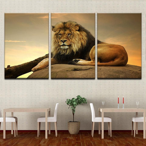 Image of New Day Stock Store Canvas Paintings Medium / 3 Pieces / No Frame Resting Lion Multi Panel Canvas Set