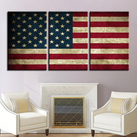 New Day Stock Store Canvas Paintings Medium / 3 Pieces / No Frame Rustic American Flag Multi Piece Canvas Set