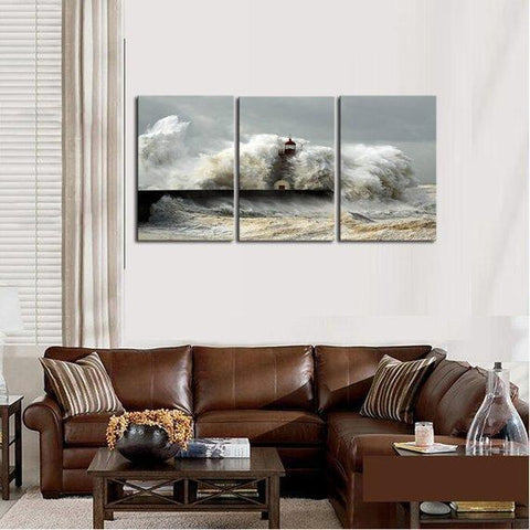 New Day Stock Store Canvas Paintings Medium / 3 Pieces / No Frame Sea Wave Lighthouse Multi Panel Canvas Set