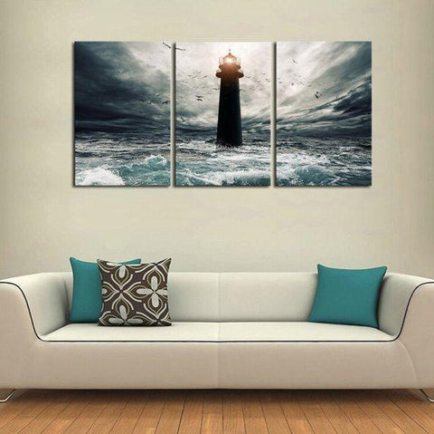 New Day Stock Store Canvas Paintings Medium / 3 Pieces / No Frame Stormy Lighthouse Multi Panel Canvas Set