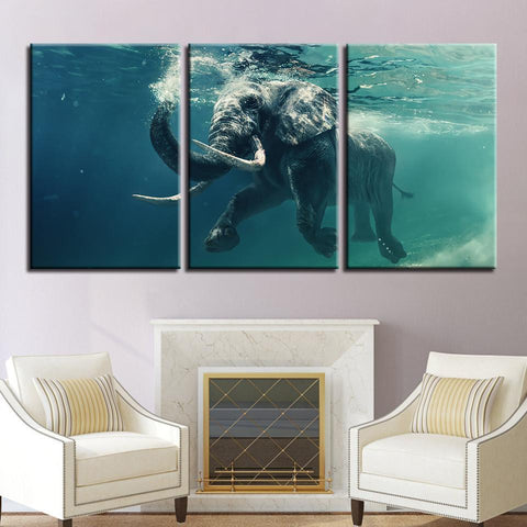 New Day Stock Store Canvas Paintings Medium / 3 Pieces / No Frame Swimming Elephant Multi Piece Canvas Set