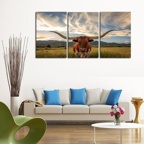 Image of New Day Stock Store Canvas Paintings Medium / 3 Pieces / No Frame Texas Longhorn Cow Multi Piece Canvas Set
