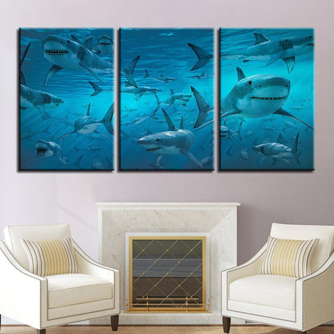 Image of New Day Stock Store Canvas Paintings Medium / 3 Pieces / No Frame The Shark Multi Panel Canvas Set