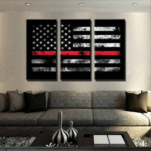New Day Stock Store Canvas Paintings Medium / 3 Pieces / No Frame Thin Red Line Flag Multi Piece Canvas Set