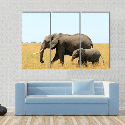 Image of New Day Stock Store Canvas Paintings Medium / 3 Pieces / No Frame Walking African Elephants Multi Piece Canvas Set
