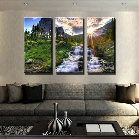 New Day Stock Store Canvas Paintings Medium / 3 Pieces / No Frame Waterfall Sunset Multi Panel Canvas Set