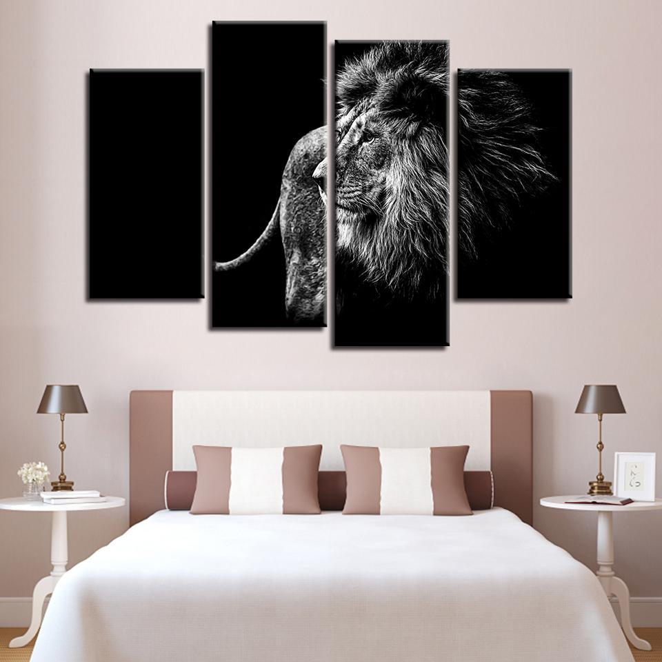 New Day Stock Store Canvas Paintings Medium / 4 Pieces / Framed Black and White Lion Multi Panel Canvas Set
