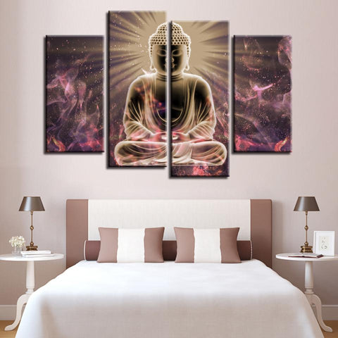 New Day Stock Store Canvas Paintings Medium / 4 Pieces / Framed Buddha Meditation Multi Panel Canvas Set