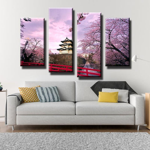 New Day Stock Store Canvas Paintings Medium / 4 Pieces / Framed Cherry Blossom Japan Canvas Set