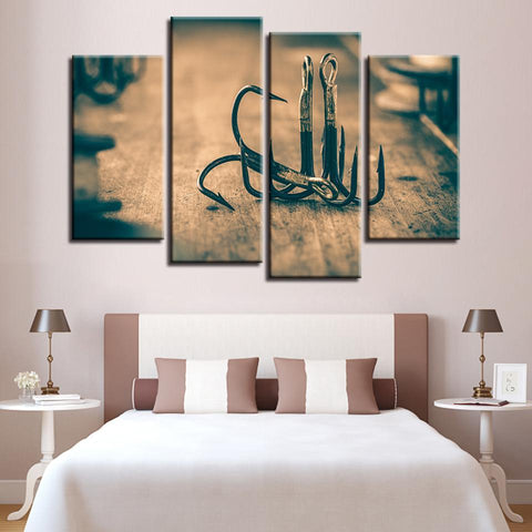 New Day Stock Store Canvas Paintings Medium / 4 Pieces / Framed Fishing Hooks Multi Panel Canvas Set