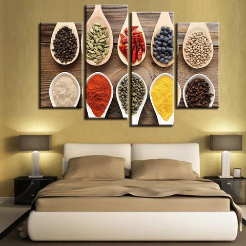 New Day Stock Store Canvas Paintings Medium / 4 Pieces / Framed Spices Multi Panel Canvas Set