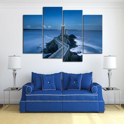 New Day Stock Store Canvas Paintings Medium / 4 Pieces / No Frame Blue Sea Lighthouse Multi Panel Canvas Set