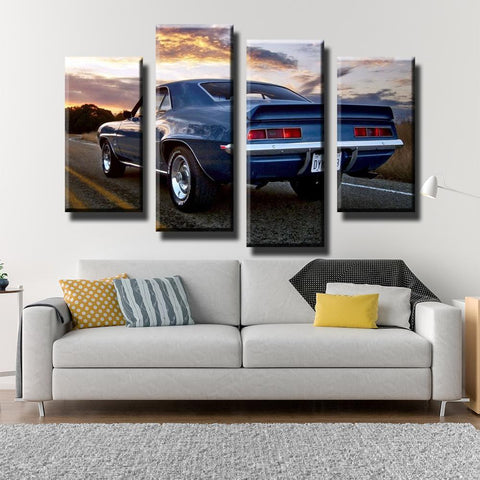 Image of New Day Stock Store Canvas Paintings Medium / 4 Pieces / No Frame Camaro SS Car Sunset Multi Panel Canvas Set