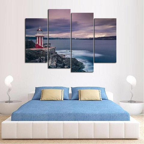 New Day Stock Store Canvas Paintings Medium / 4 Pieces / No Frame Candy Stripe Lighthouse Multi Panel Canvas Set