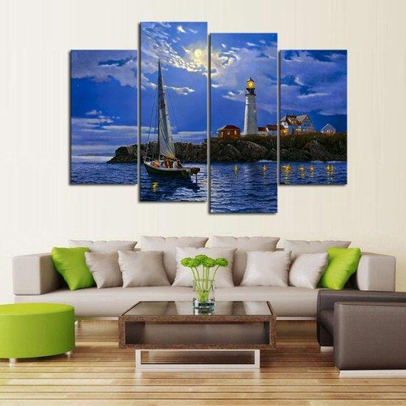New Day Stock Store Canvas Paintings Medium / 4 Pieces / No Frame Clear Sailing Lighthouse Multi Panel Canvas Set