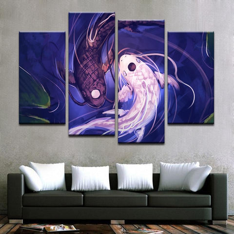 New Day Stock Store Canvas Paintings Medium / 4 Pieces / No Frame Fish Koi Yin Yang Multi Panel Canvas Set