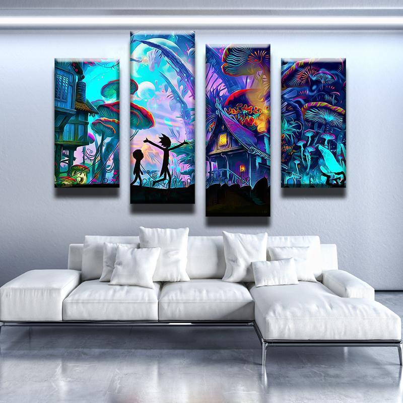4 piece canvas wall art black white landscape wall tap to expand rick and morty canvas wall art decor new day stock