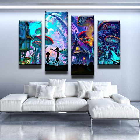 New Day Stock Store Canvas Paintings Medium / 4 Pieces / No Frame Mushroom World Rick and Morty Multi Piece Canvas Set