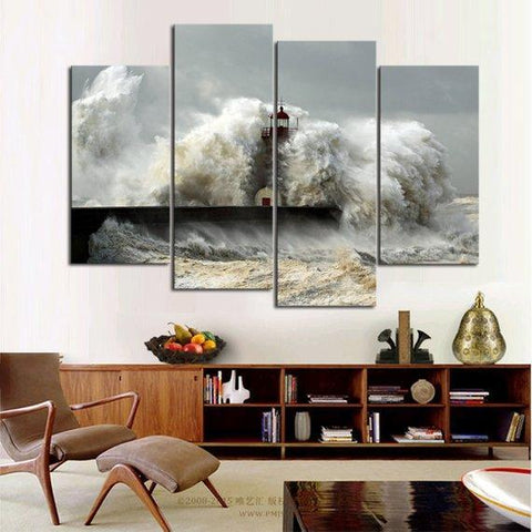 New Day Stock Store Canvas Paintings Medium / 4 Pieces / No Frame Sea Wave Lighthouse Multi Panel Canvas Set