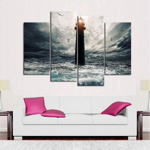 New Day Stock Store Canvas Paintings Medium / 4 Pieces / No Frame Stormy Lighthouse Multi Panel Canvas Set
