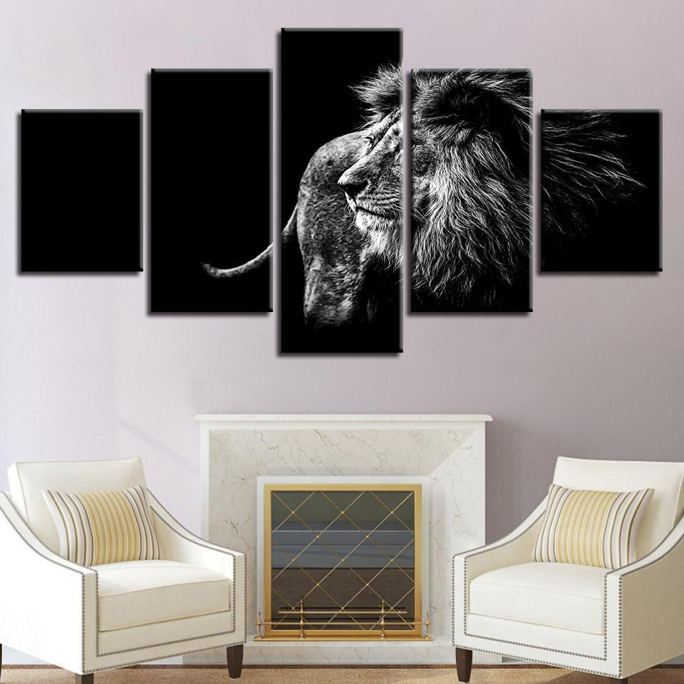 New Day Stock Store Canvas Paintings Medium / 5 Pieces / Framed Black and White Lion Multi Panel Canvas Set
