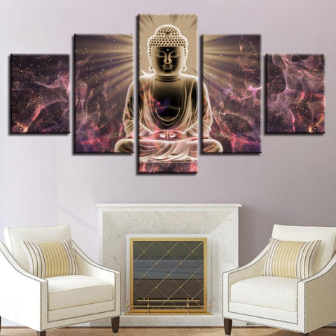 New Day Stock Store Canvas Paintings Medium / 5 Pieces / Framed Buddha Meditation Multi Panel Canvas Set