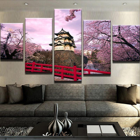 Image of New Day Stock Store Canvas Paintings Medium / 5 Pieces / Framed Cherry Blossom Japan Canvas Set