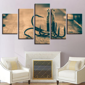 New Day Stock Store Canvas Paintings Medium / 5 Pieces / Framed Fishing Hooks Multi Panel Canvas Set