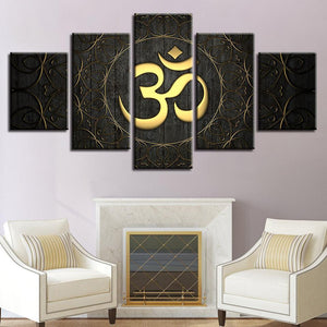 New Day Stock Store Canvas Paintings Medium / 5 Pieces / Framed Gold OM Multi Panel Canvas Set