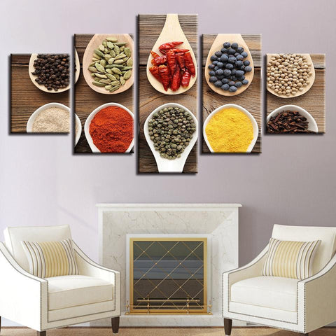 New Day Stock Store Canvas Paintings Medium / 5 Pieces / Framed Spices Multi Panel Canvas Set