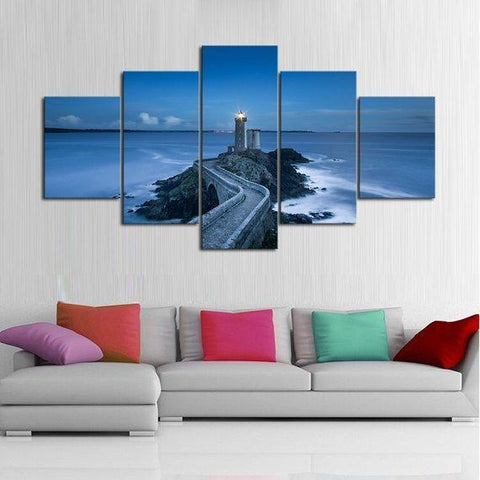 New Day Stock Store Canvas Paintings Medium / 5 Pieces / No Frame Blue Sea Lighthouse Multi Panel Canvas Set
