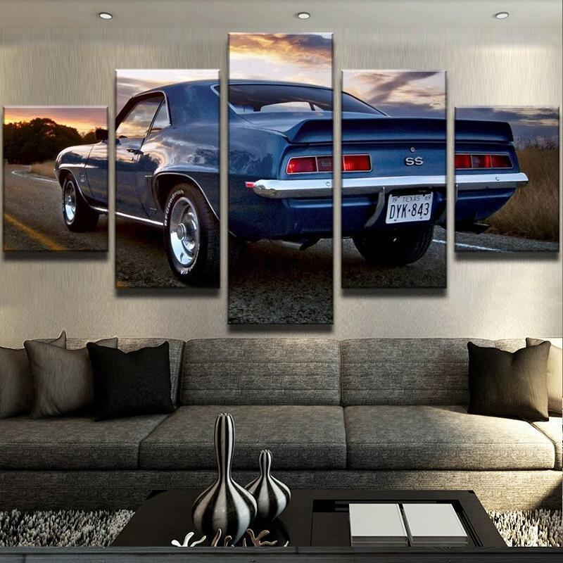 New Day Stock Store Canvas Paintings Medium / 5 Pieces / No Frame Camaro SS Car Sunset Multi Panel Canvas Set