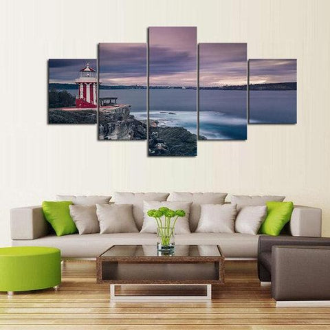 New Day Stock Store Canvas Paintings Medium / 5 Pieces / No Frame Candy Stripe Lighthouse Multi Panel Canvas Set