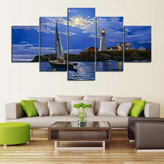 New Day Stock Store Canvas Paintings Medium / 5 Pieces / No Frame Clear Sailing Lighthouse Multi Panel Canvas Set