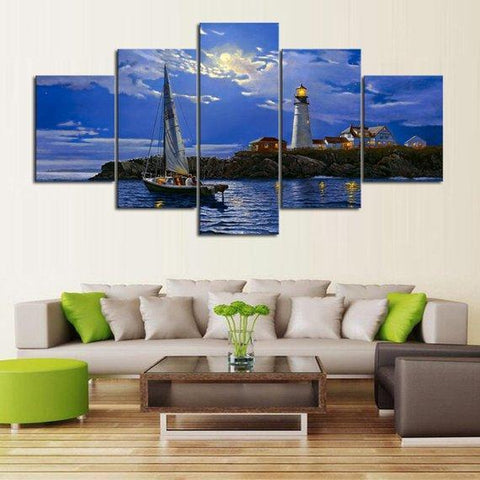 Image of New Day Stock Store Canvas Paintings Medium / 5 Pieces / No Frame Clear Sailing Lighthouse Multi Panel Canvas Set