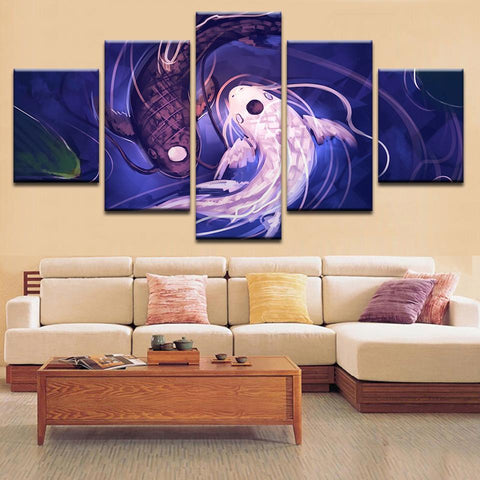 New Day Stock Store Canvas Paintings Medium / 5 Pieces / No Frame Fish Koi Yin Yang Multi Panel Canvas Set