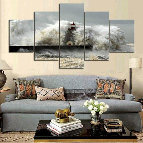 New Day Stock Store Canvas Paintings Medium / 5 Pieces / No Frame Sea Wave Lighthouse Multi Panel Canvas Set