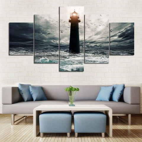 New Day Stock Store Canvas Paintings Medium / 5 Pieces / No Frame Stormy Lighthouse Multi Panel Canvas Set