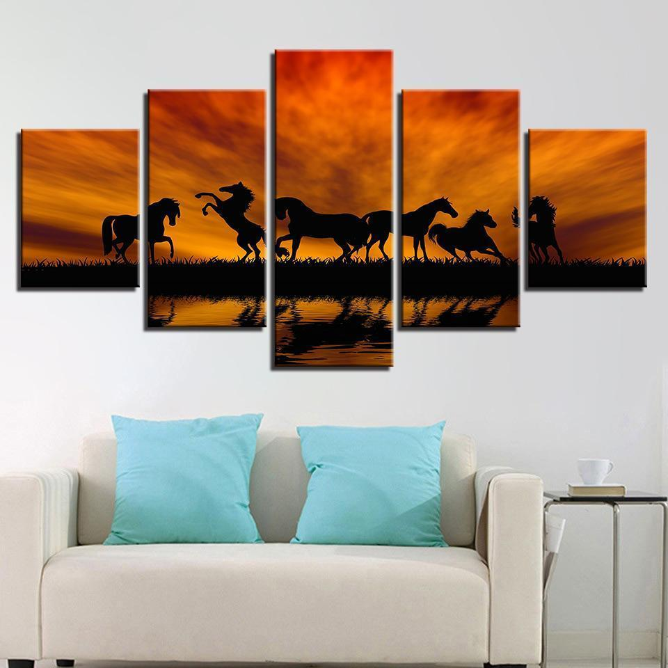 New Day Stock Store Canvas Paintings Medium / Framed Amazing Horses 5 Piece Canvas Set