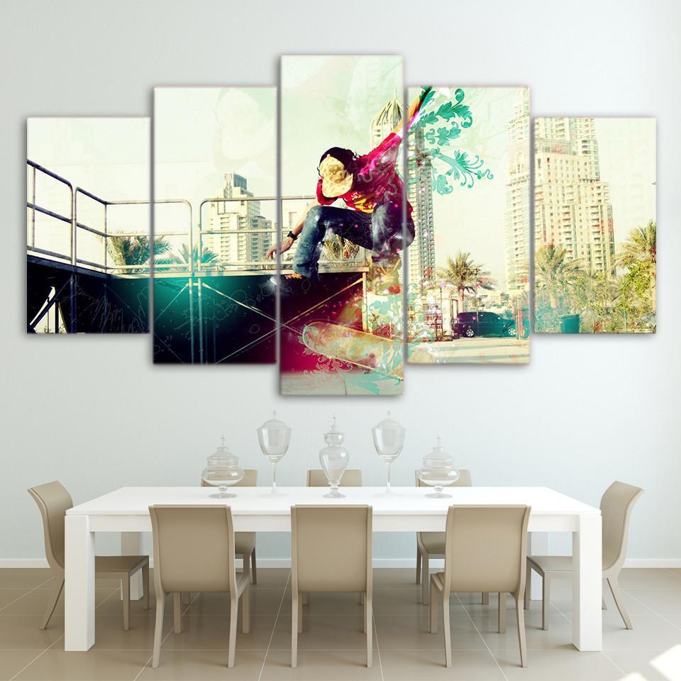 New Day Stock Store Canvas Paintings Medium / Framed Artistic Skateboarding 5 Piece Canvas Set