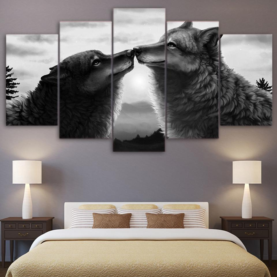 New Day Stock Store Canvas Paintings Medium / Framed Black Couple Wolf 5 Piece Canvas Set