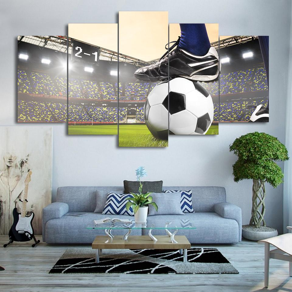 New Day Stock Store Canvas Paintings Medium / Framed Bright Soccer Kick 5 Piece Canvas Set