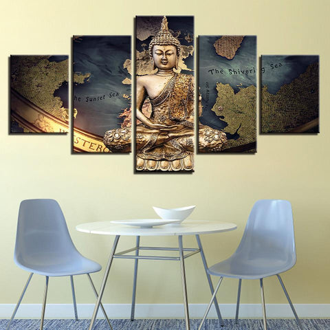 New Day Stock Store Canvas Paintings Medium / Framed Buddha Abstract 5 Piece Canvas Set