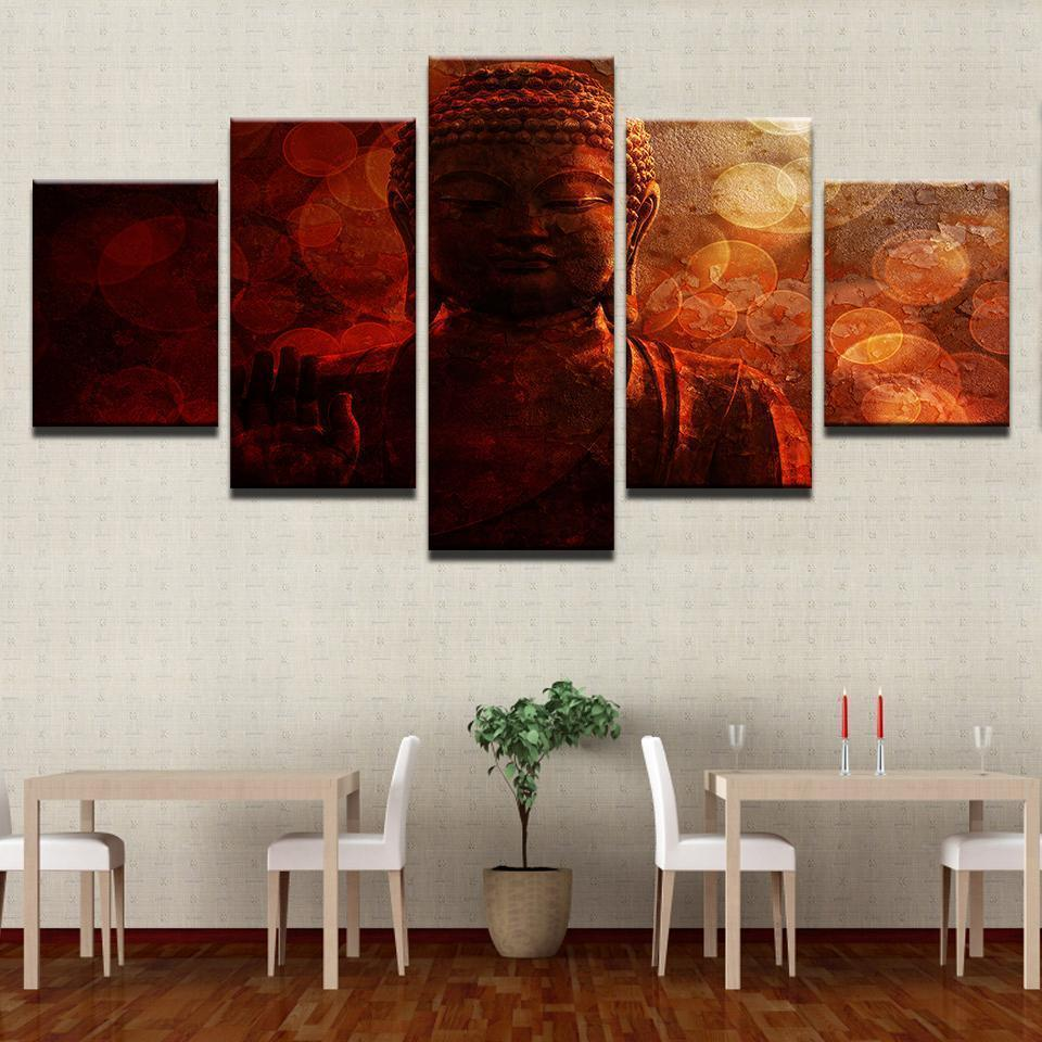 New Day Stock Store Canvas Paintings Medium / Framed Buddha Circles 5 Piece Canvas Set