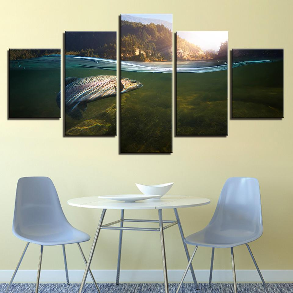 New Day Stock Store Canvas Paintings Medium / Framed Catch Of The Day 5 Piece Canvas Set