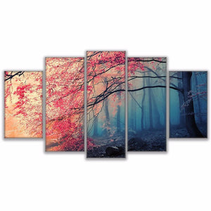 New Day Stock Store Canvas Paintings Medium / Framed Cherry Blossoms 5 Piece Canvas Set