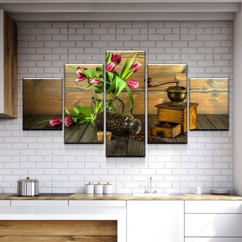 New Day Stock Store Canvas Paintings Medium / Framed Coffee Grind 5 Piece Canvas Set