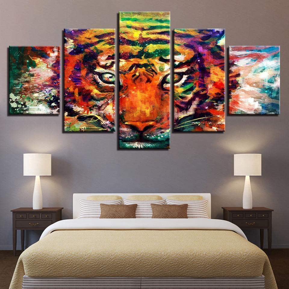 New Day Stock Store Canvas Paintings Medium / Framed Colorful Tiger 5 Piece Canvas Set